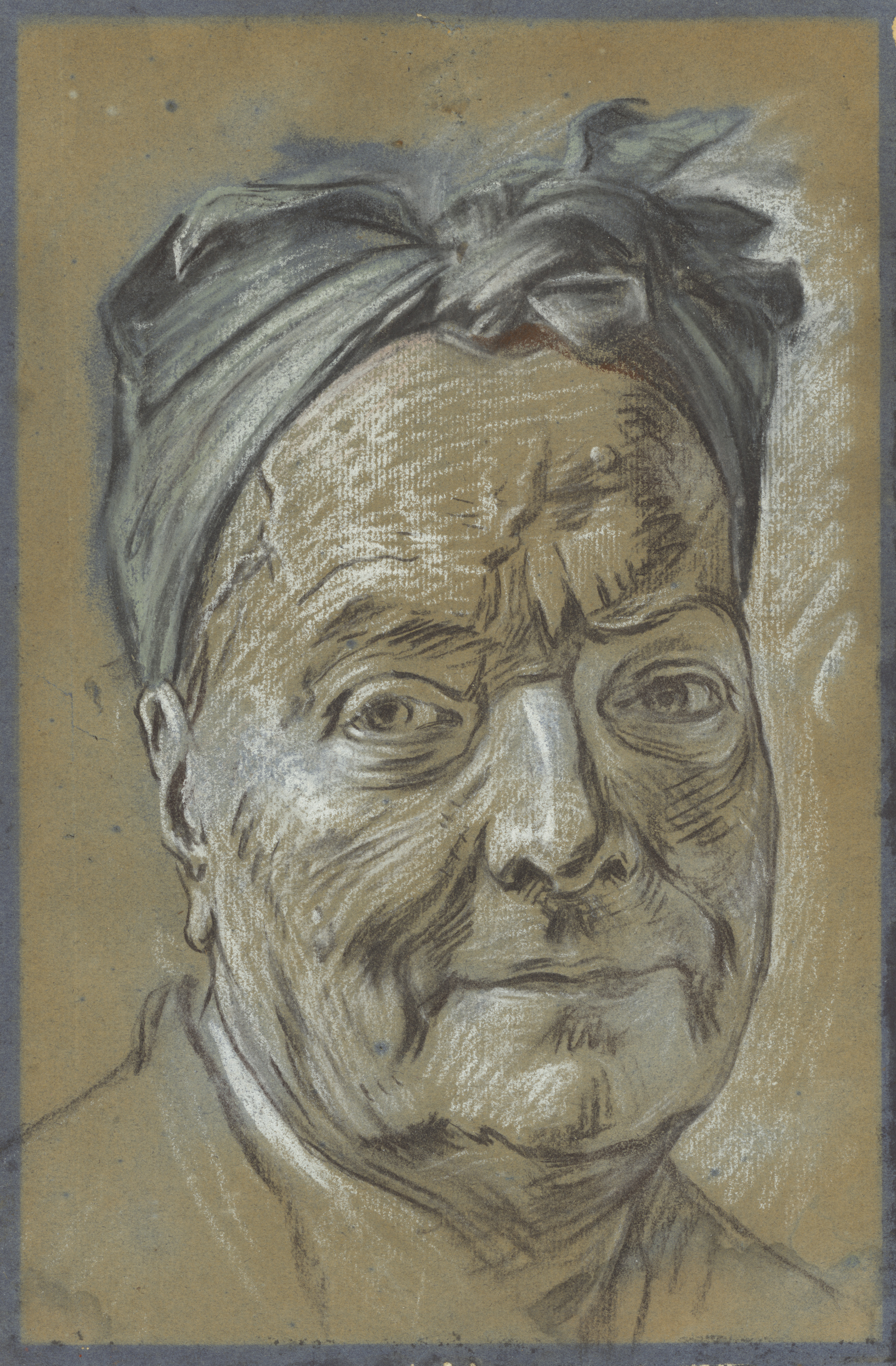 Portrait par Maurice Quentin La Tour - env. 1753 				Black and white chalk, blue and rose pastel on faded blue paper 				32.5 × 21.4 cm (12 13/16 × 8 7/16 in.), 2002.50 				The J. Paul Getty Museum, Los Angeles