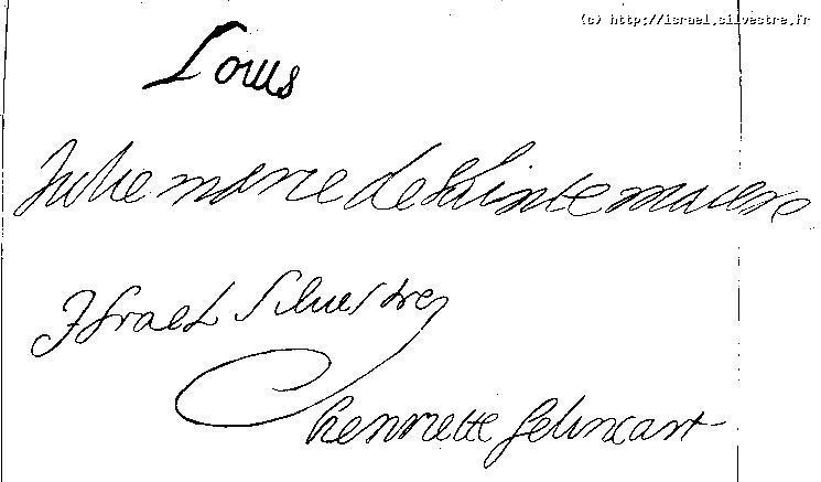 Louis l'ainé Silvestre : Signatures sur l'acte de baptème
