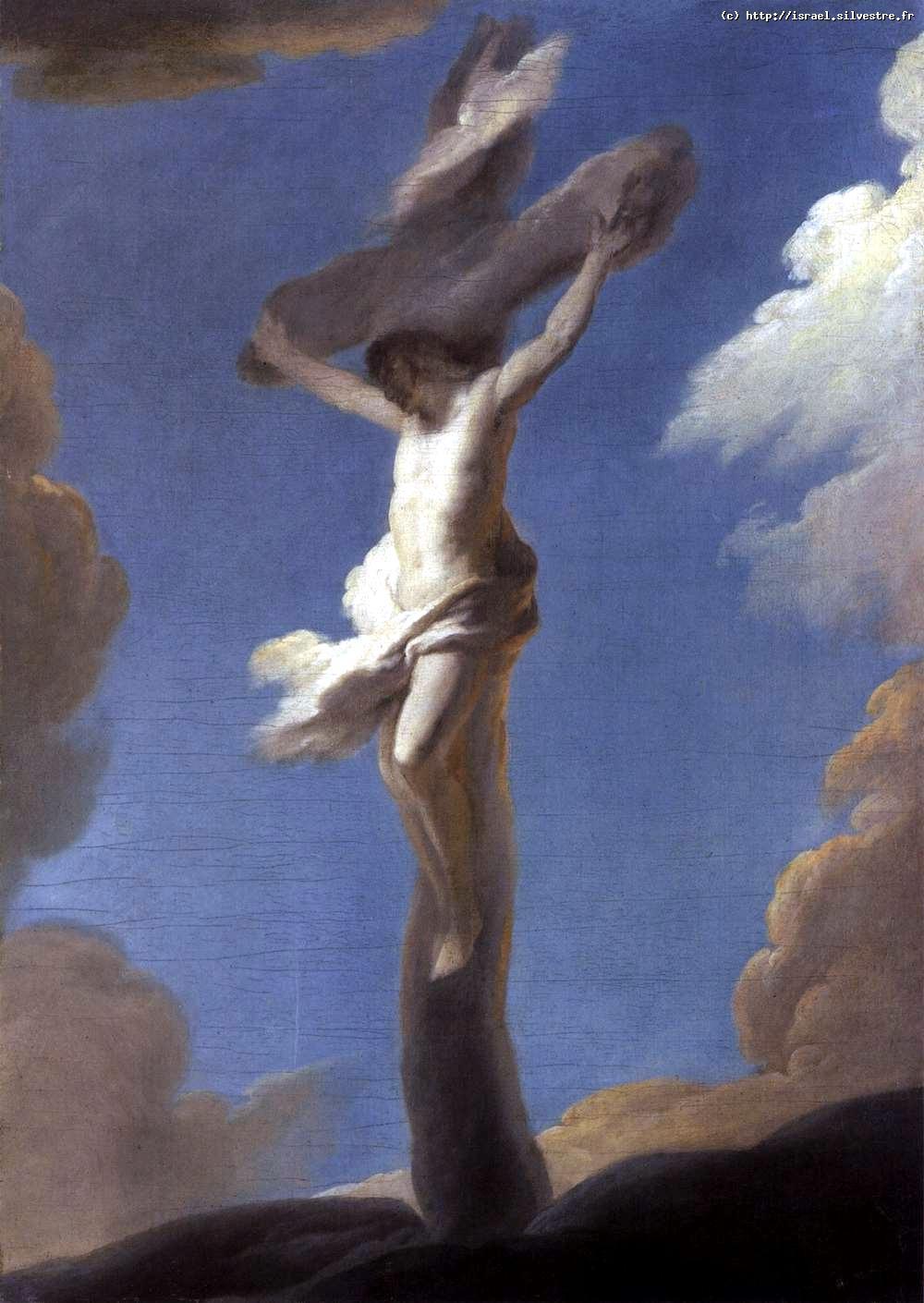 Le Christ en croix formé par des nuées